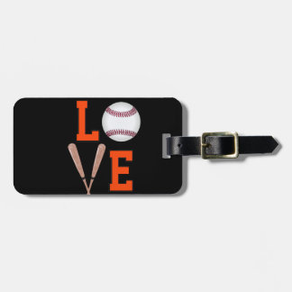 Love Baseball (Orange & Black) Luggage Tag