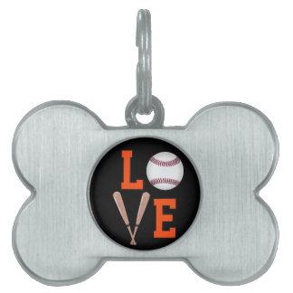 Love Baseball (Orange & Black) Pet ID Tag