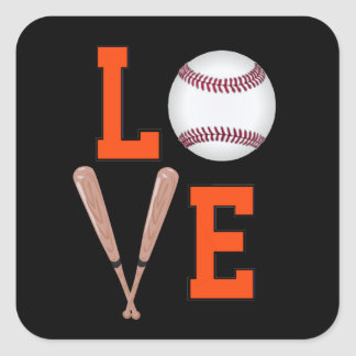 Love Baseball (Orange & Black) Square Sticker