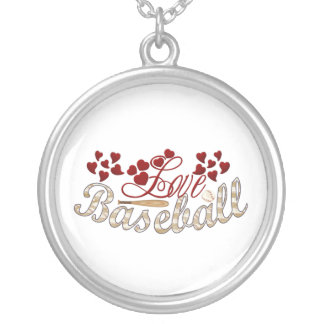 Love Baseball Silver Plated Necklace