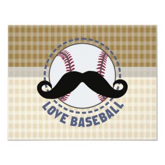 'LOVE BASEBALL' sport mustache Invitations