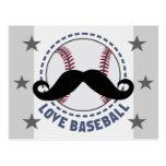 'LOVE BASEBALL' sport mustache Postcard