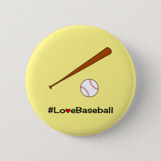 Love baseball yellow hashtag sports button