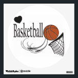 """Love Basketball Wall Sticker<br><div class=""""desc"""">Love Basketball. A great wall decal for the basketball lovers in your life. Made with high resolution vector graphics for a professional print. NOTE: (All zazzle product designs are &quot;prints&quot; unless otherwise stated) If you have any questions about this product please contact me at siggyscott@comcast.net or visit my store link:...</div>"""