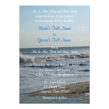 Beach Themed Love Beach Sand Blue Sky Wedding Invitations