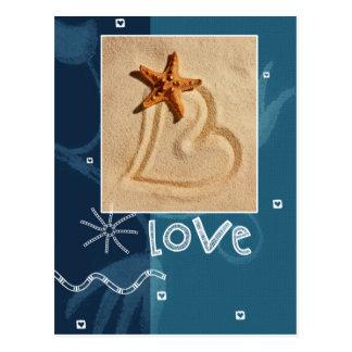 Love. Beach Theme Design Valentine's Day Postcards