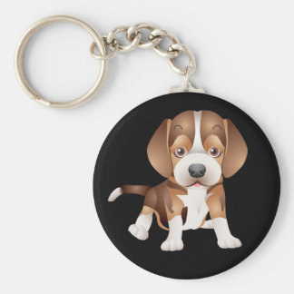Love Beagle Puppy Dog Black Key Chain