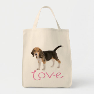 Love Beagle Puppy Dog Canvas Totebag Tote Bags