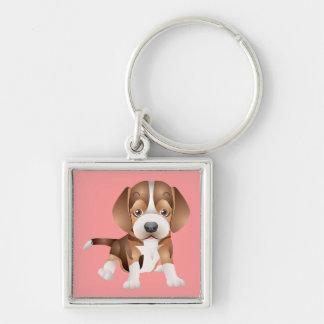 Love Beagle Puppy Dog Pink Key Chain