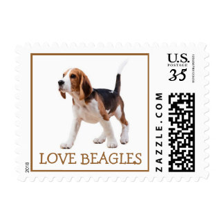 Love Beagle Puppy Dog Red Postage Stamps