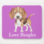 Love Beagles Puppy Dog Cartoon Mouse Pad