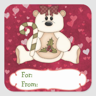 Love Bear Christmas Gift Tag Square Sticker
