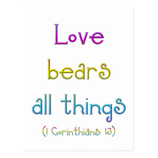 Love bears all things post cards