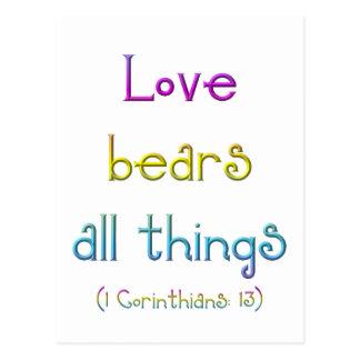 """Love bears all things"" Postcard"