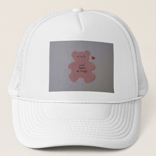 Love bears all things trucker hat