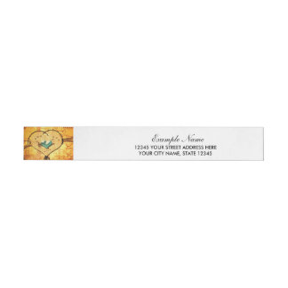 Love, beautiful heart made of metal wrap around address label