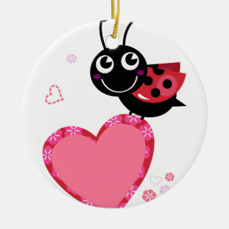 LOVE BEE with pink Heart Ceramic Ornament