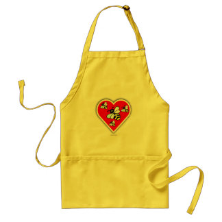 Love Bees (Four Bees Within Red Heart) Adult Apron