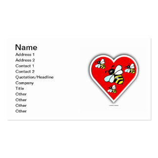 Love Bees (Four Bees Within Red Heart) Business Card