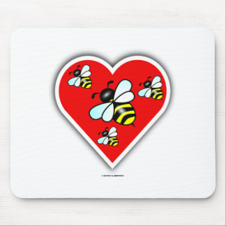 Love Bees (Four Bees Within Red Heart) Mouse Pad
