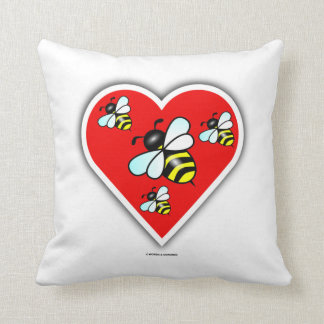 Love Bees (Four Bees Within Red Heart) Throw Pillow