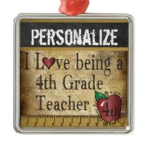 Love being a 4th Grade Teacher | Vintage Metal Ornament