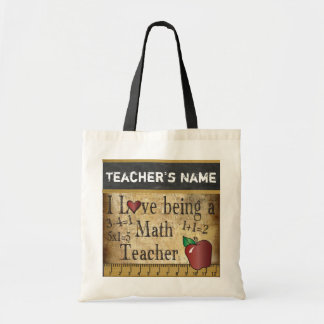 Love Being a Math Teacher | Vintage | DIY Name Tote Bag