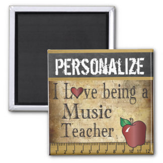 Love being a Music Teacher 2 Inch Square Magnet