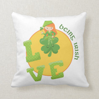 Love Being Irish With Four Leaf Clover Throw Pillow