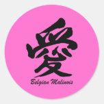 love Belgian Malinois Round Stickers