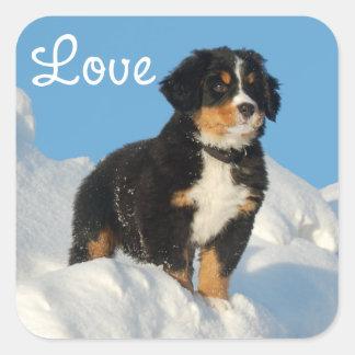 Love Bernese Mountain Puppy Dog Sticker / Seal