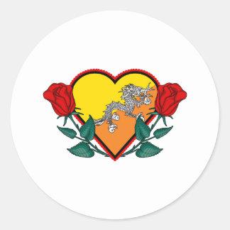 Love Bhutan Round Sticker