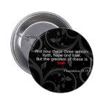 Love Bible Verse, Black/Red Button