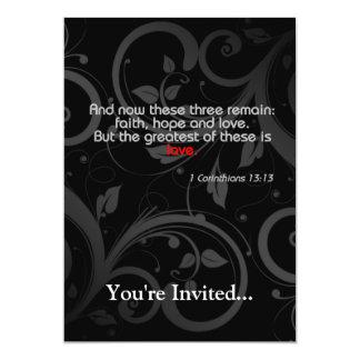 Love Bible Verse, Black/Red 5x7 Paper Invitation Card