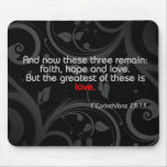 Love Bible Verse, Black/Red Mousepad