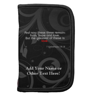 Love Bible Verse, Black/Red Folio Planners