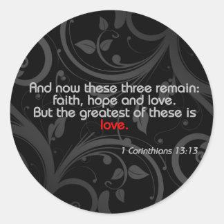 Love Bible Verse, Black/Red Classic Round Sticker
