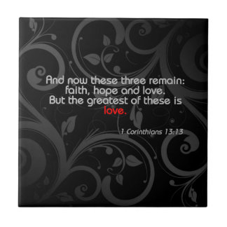 Love Bible Verse, Black/Red Ceramic Tiles
