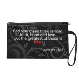 Love Bible Verse, Black/Red Wristlet Purse