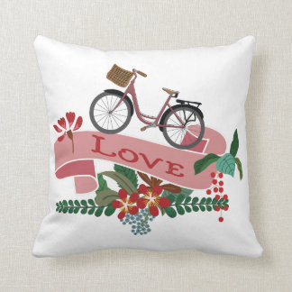Love Bicycle Floral Banner Pillow