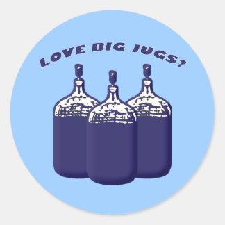Love Big Jugs? Classic Round Sticker