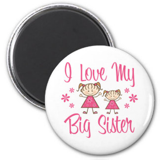 Love Big Sister Pink Girls 2 Inch Round Magnet
