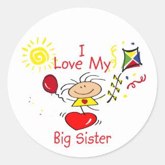 Love Big Sister Stick Figure Girl Classic Round Sticker