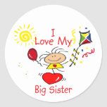 Love Big Sister Stick Figure Girl Stickers