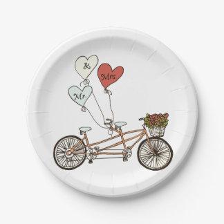 Love bike Mr. & Mrs. paper plate