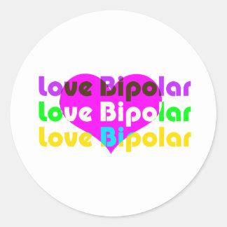 love bipolar regular classic round sticker