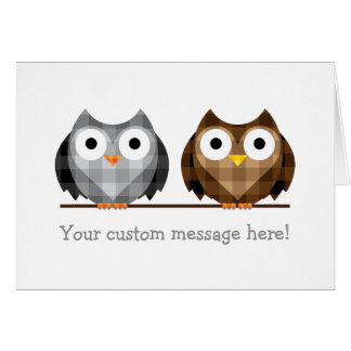 Love Bird Checkered Brown and Gray Horned Owls Card