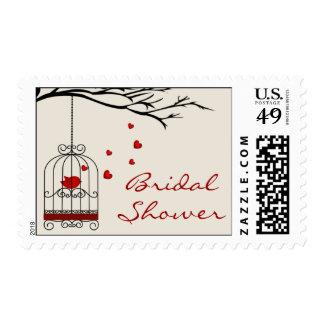 Love Bird in Birdcage Bridal Shower Stamps