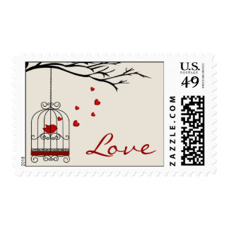 Love Bird in Birdcage Love Stamps