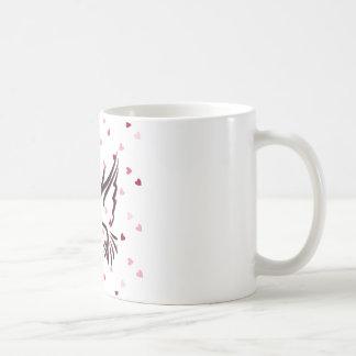 Love Bird in Black With Love Pattern Coffee Mug